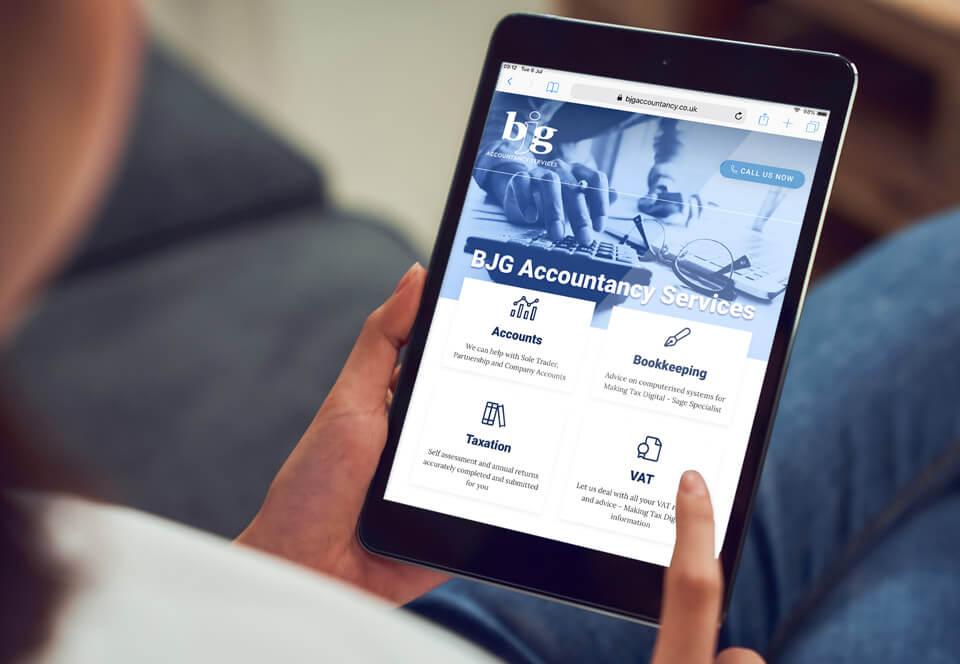 BJG Accountancy website tablet view