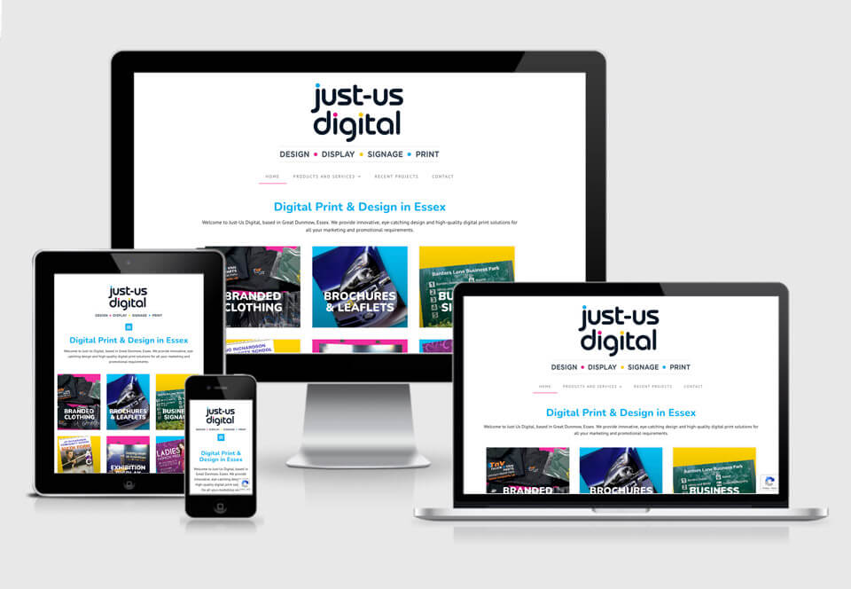 Just-us Digital website case study responsive views