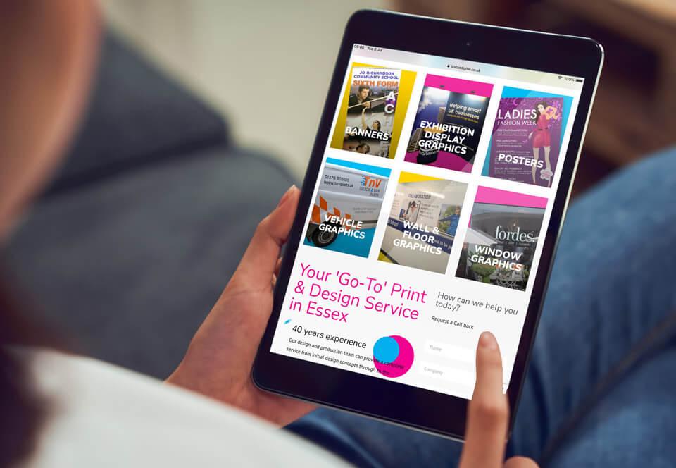 Just-us Digital website tablet view