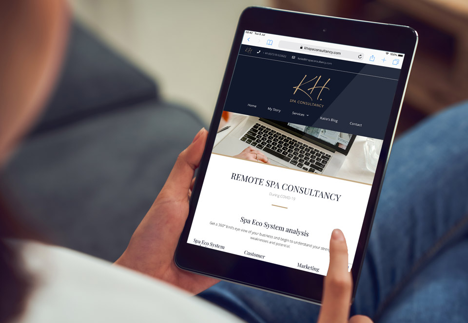 KH Spa Consultancy website tablet view