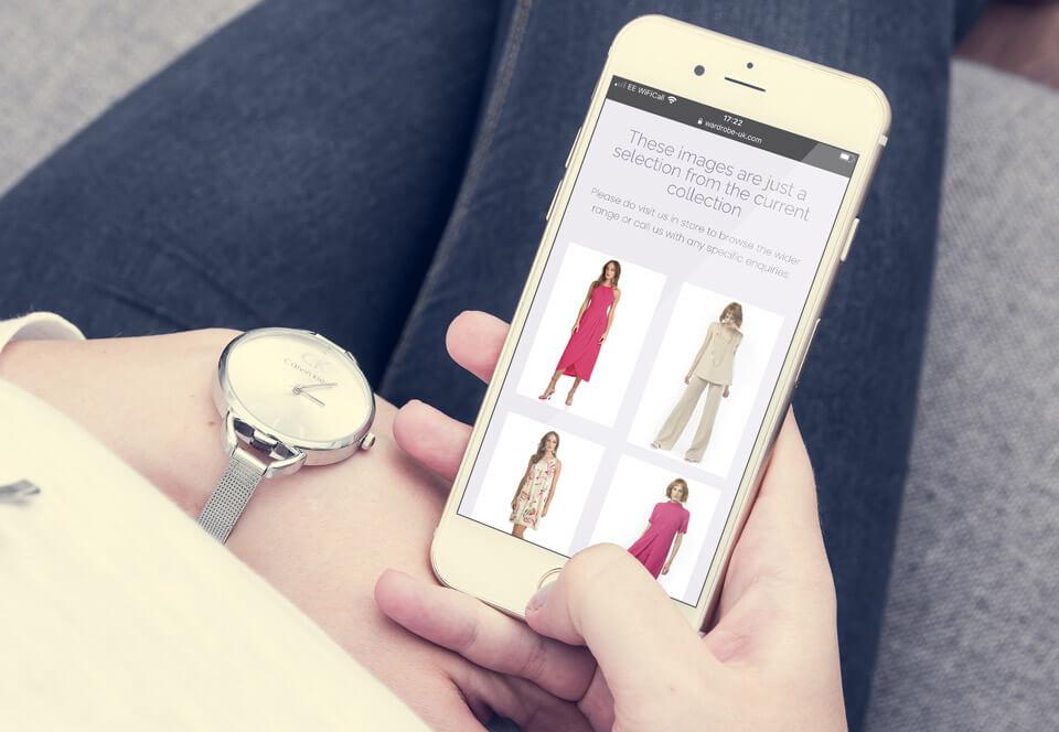 Wardrobe online shop on a mobile